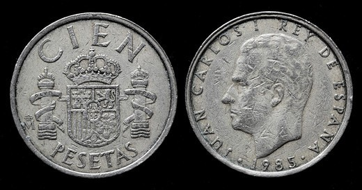 100 Pesetas coin, Spain, 1985 : Stock Photo