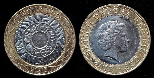2 pounds coin, UK, 2008 : Stock Photo