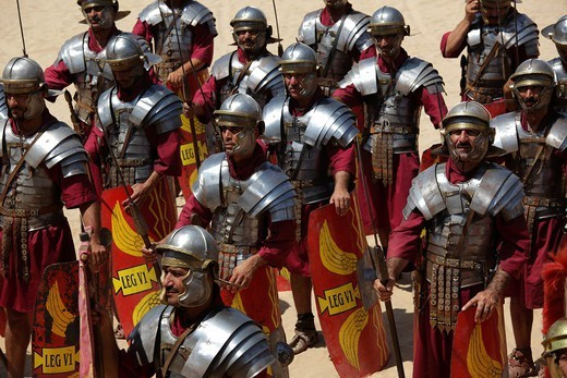 Stock Photo: 1566-1115274 Actors playing roman legionaries soldiers in the tortoise tactic, Jerash, Jordan