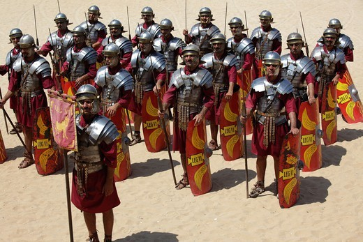 Stock Photo: 1566-1115275 Actors playing roman legionaries soldiers in the tortoise tactic, Jerash, Jordan