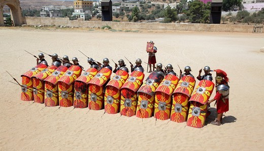 Stock Photo: 1566-1115276 Actors playing roman legionaries soldiers in the war tactic, Jerash, Jordan