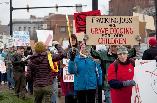 Stock Photo: 1566-1115947 Youngstown, Ohio - Activists protest hydraulic facturing fracking by energy companies drilling for natural gas  They say the practice pollutes drinking water and results in the release of toxic fracking fluids