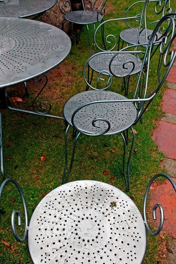 metal garden chairs : Stock Photo