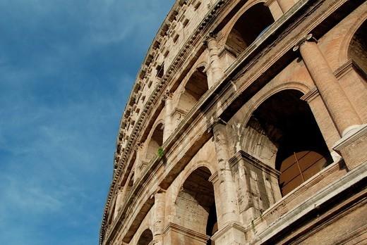 The Colosseum, originally the Flavian Amphitheatre, Rome, Lazio, Italy, Europe : Stock Photo