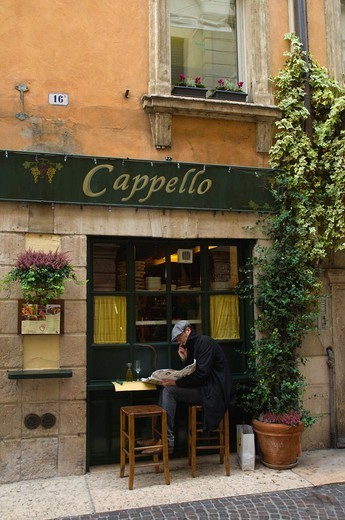 Restaurant wine bar exterior old town Verona the Veneto region northern Italy Europe : Stock Photo