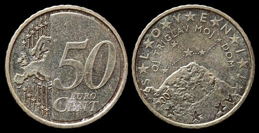 Stock Photo: 1566-1116761 50 Euro cent coin, Slovenia, 2007
