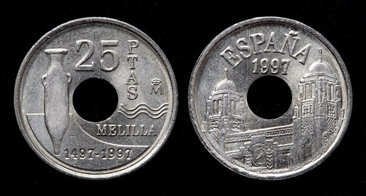 Stock Photo: 1566-1116766 25 Pesetas coin, Spain, 1997