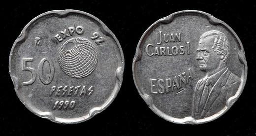 Stock Photo: 1566-1116770 50 pesetas coin, Spain, 1990