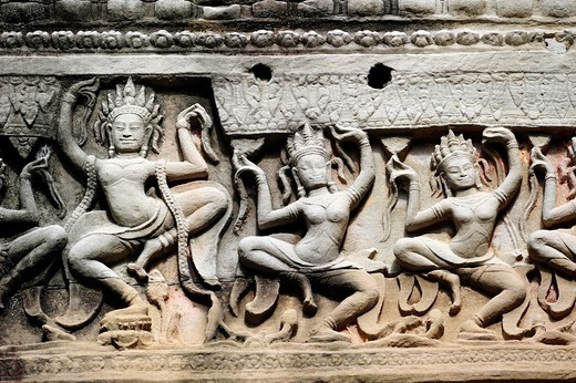 Stock Photo: 1566-1116835 Bas reliefs carved into stone, Preah Khan Temple  Angkor, Cambodia