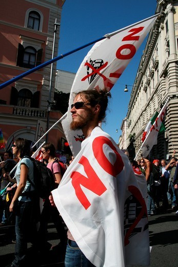 Stock Photo: 1566-1116887 indignados protesters at occupy rome movement rally demo in rome italy 2011
