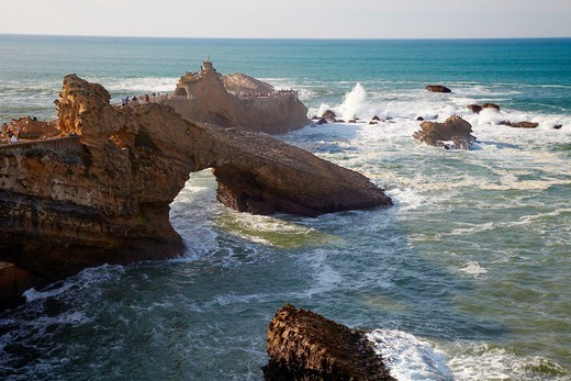 The Rock of The Virgin, Basque Coast, Biarritz, Basque Country, Aquitaine, Pyrenees Atlantiques, France. : Stock Photo