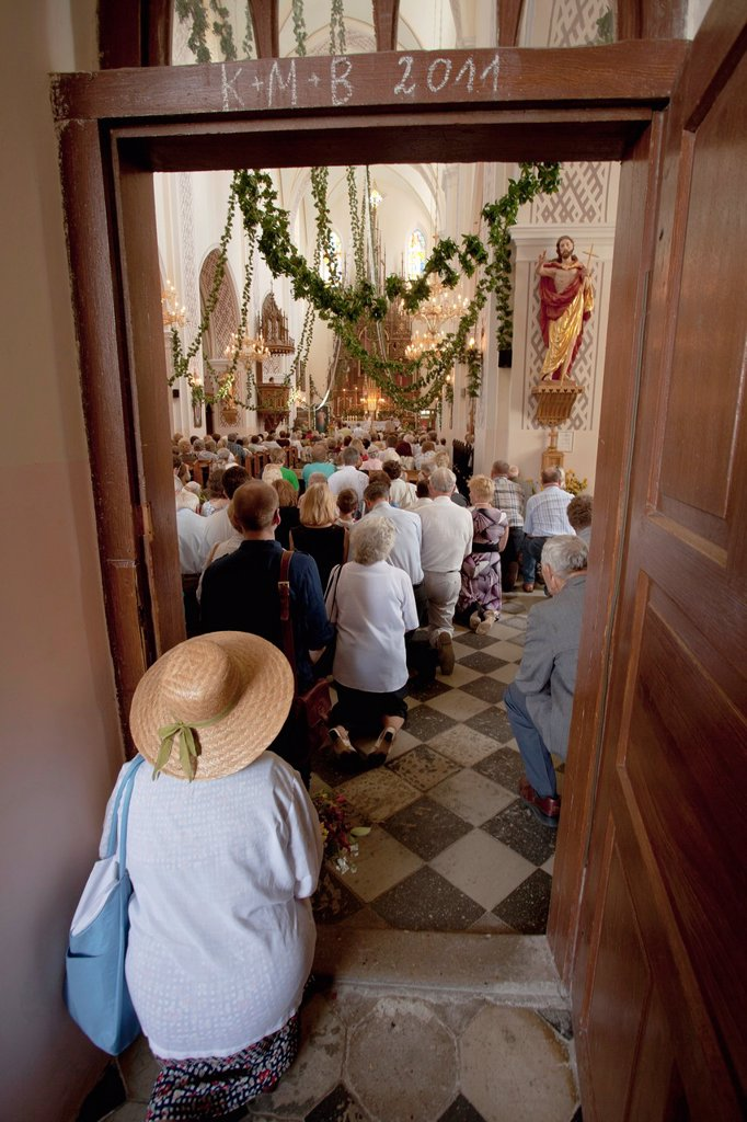 Catholic sunday mass in Poland : Stock Photo