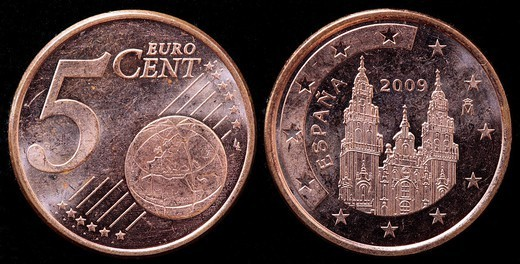 5 Euro cent coin, Spain, 2009 : Stock Photo