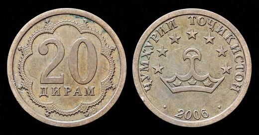 Stock Photo: 1566-1118105 20 Diram coin, Tajikistan, 2006