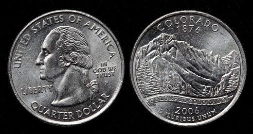 Quarter dollar coin, USA, 2006 : Stock Photo