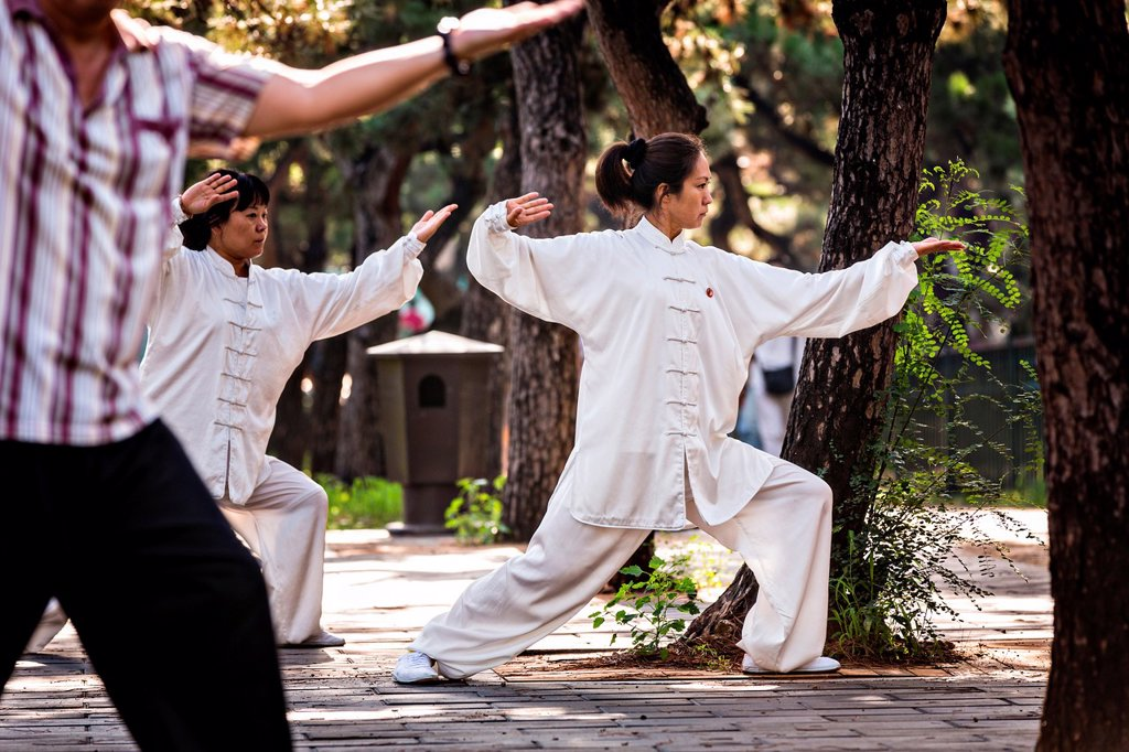 Stock Photo: 1566-1118337 Chinese people practices tai chi martial arts exercise early morning at the Temple of Heaven Park during summer in Beijing, China