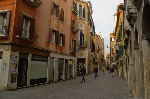 Rio Tera Secondo street San Polo sestiere district Venice the Veneto region northern Italy Europe : Stock Photo