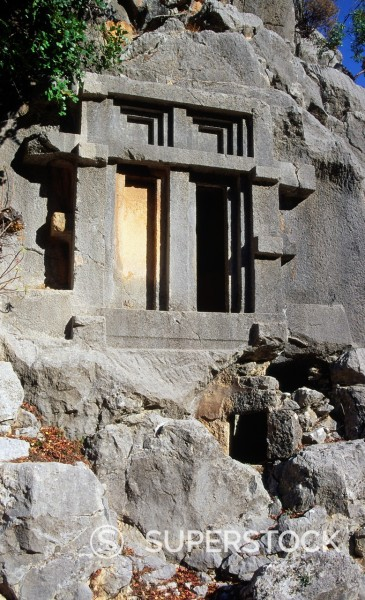 Stock Photo: 1566-1118722 Rock tombs, Lycian city of Pinara, Turkey