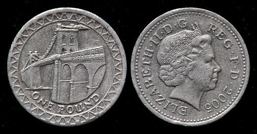 Stock Photo: 1566-1118770 1 pound coin, UK, 2005
