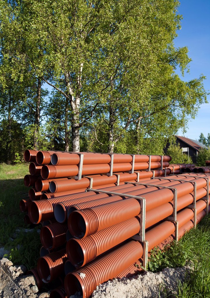 Brown corrugated PVC pipes  Location Oulu Finland Scandinavia Europe : Stock Photo