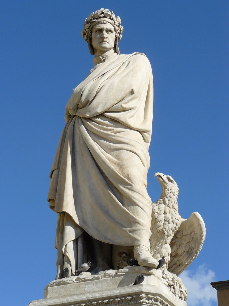 Stock Photo: 1566-1119324 Florence Italy  Sculpture of Dante near the church of Santa Croce in Florence
