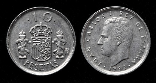 Stock Photo: 1566-1119478 10 pesetas coin, Spain, 1992