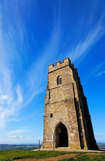 Stock Photo: 1566-1119666 St Michael´s tower on Glastonbury Tor, Glastonbury, Somerset, England