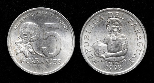 5 Guaranies coin, Paraguay, 1992 : Stock Photo