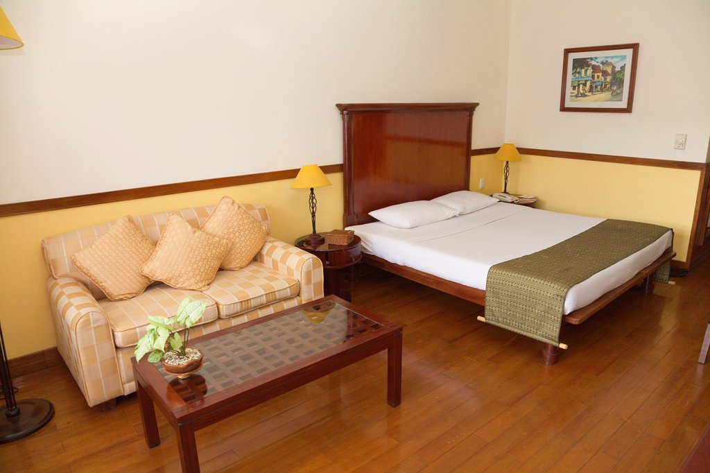 Hotel room, Victoria Resort, Can Tho, Mekong Delta, Ha Giang Province, Vietnam : Stock Photo