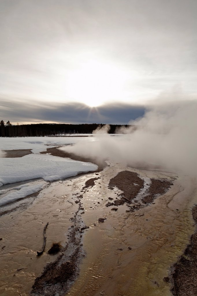 Stock Photo: 1566-1120634 Fountain Paint Pots Area, Winter, Yellowstone NP, WY