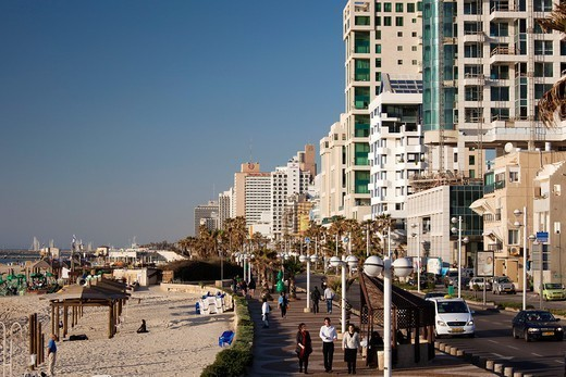 Stock Photo: 1566-1121304 Israel, Tel Aviv, beachfront hotels, late afternoon