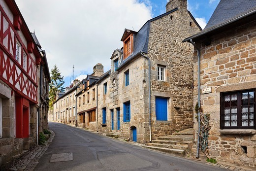 Old medieval street in Moncontour, Cotes dArmor, Brittany, France : Stock Photo