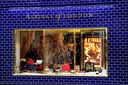 Aspinal of London Leather Goods Shop Window, Long Acre, Covent Garden, London, England, UK : Stock Photo