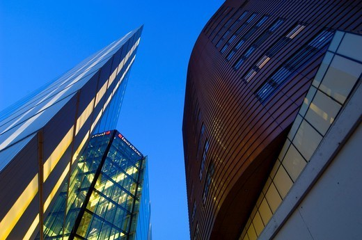 Stock Photo: 1566-1122622 abstract view of modern building, ernst and young, at night london england uk