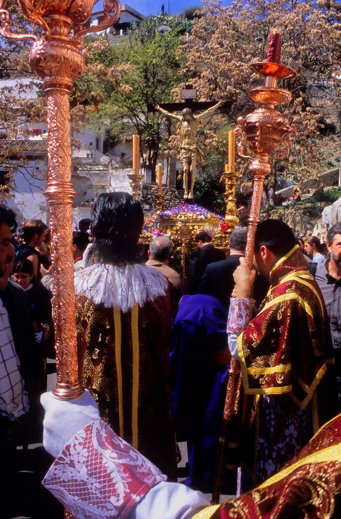 Holy Wednesday  procession in Camino del Sacromonte  Brotherhood of 'Los Gitanos'  Granada  Andalusia, Spain : Stock Photo