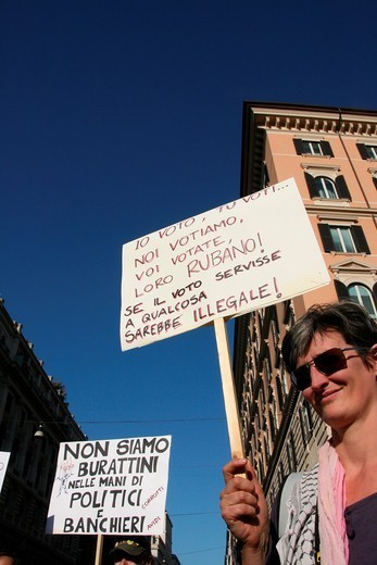 Stock Photo: 1566-1123069 indignados protesters at occupy rome movement rally demo in rome italy 2011