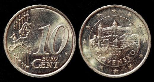 Stock Photo: 1566-1123530 10 Euro cent coin, Slovakia, 2009