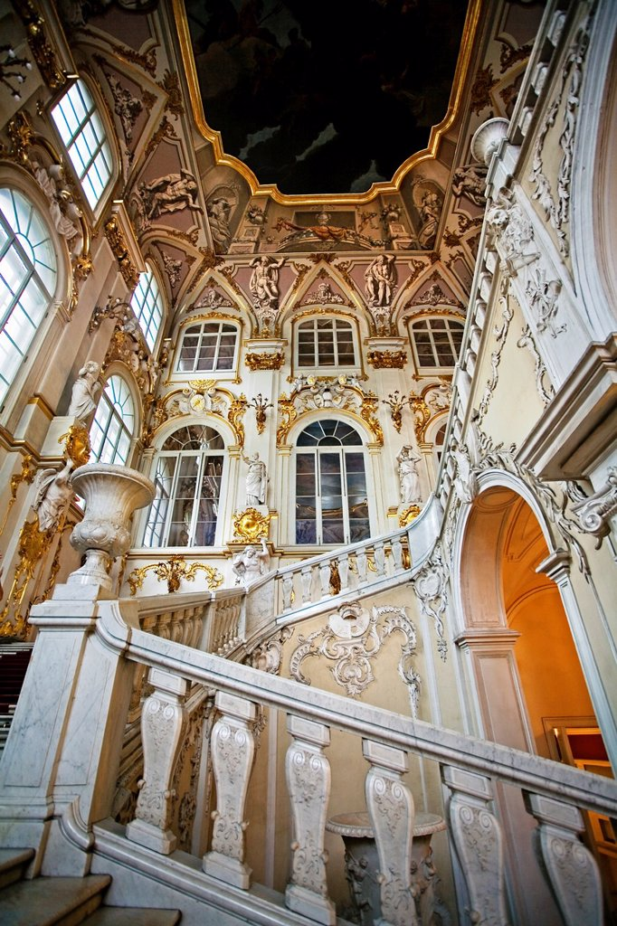 Jordan Staircase of the Hermitage Museum Winter Palace  St Petersburg  Russia. : Stock Photo