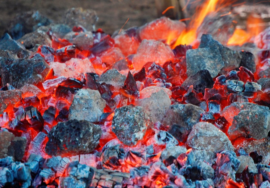 Stock Photo: 1566-1124989 fire burned down to hot coals.