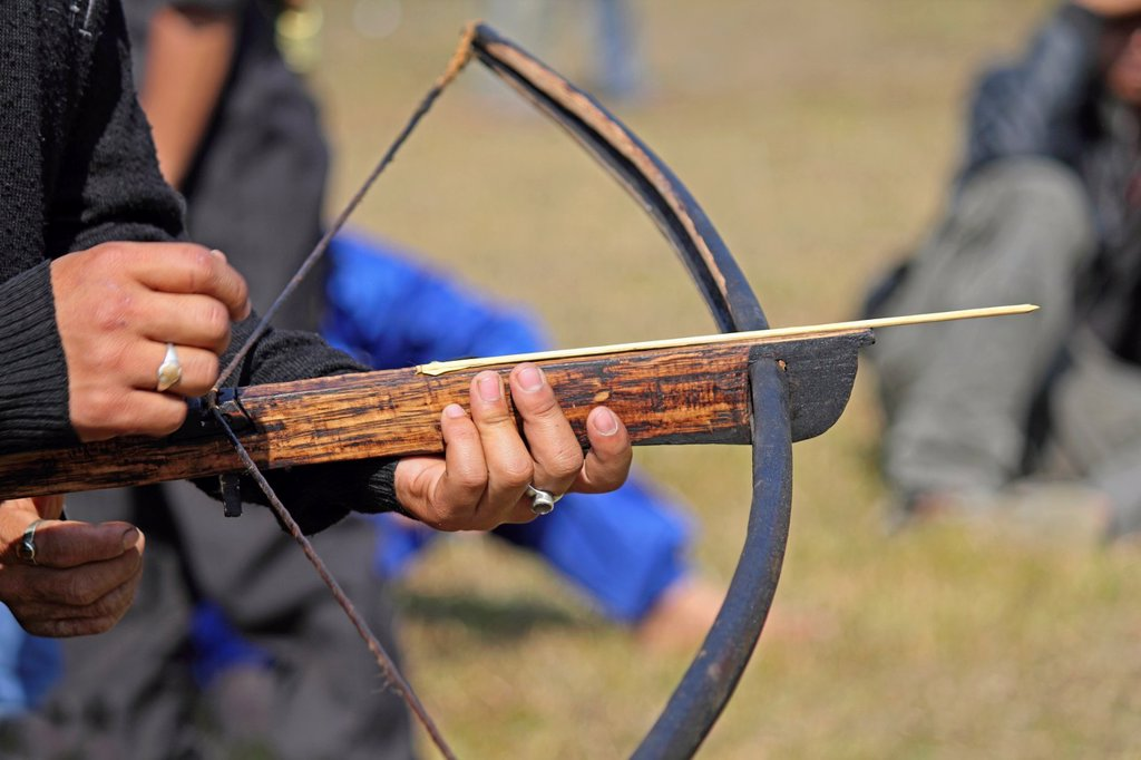 Tribe, man perform Traditional Crossbow Competition at Namdapha Eco Cultural Festival, Miao, Arunachal Pradesh, India : Stock Photo