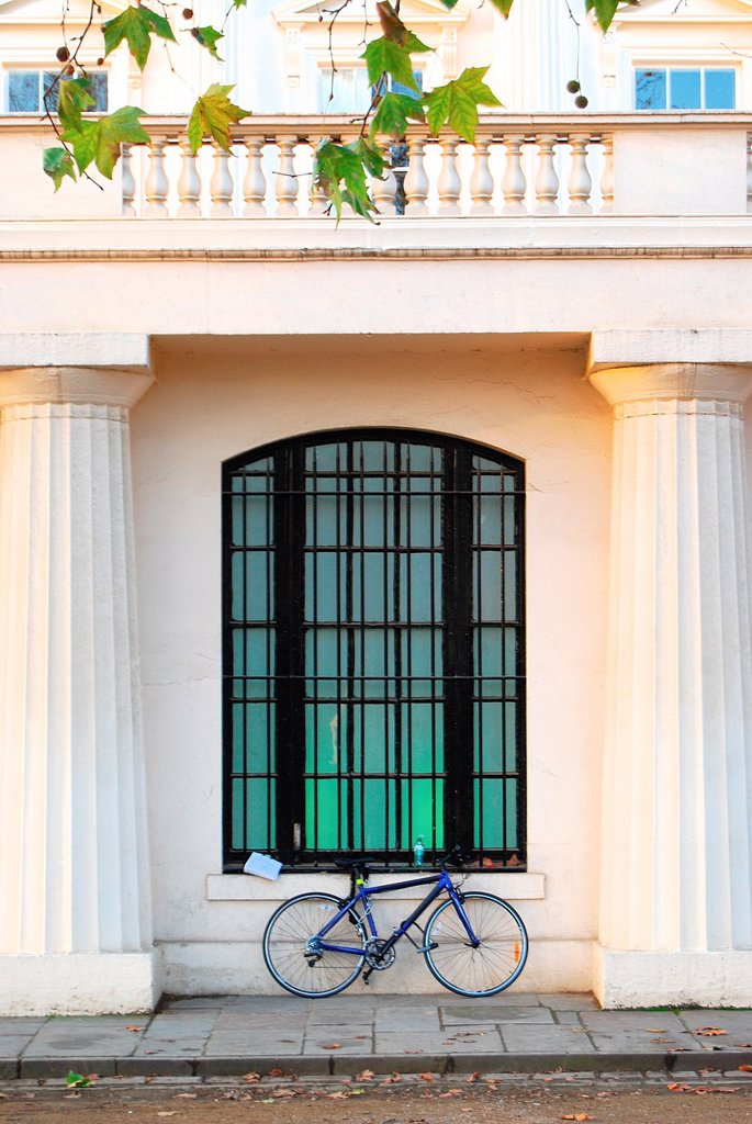 Stock Photo: 1566-1125325 Bycycle parked against the very grand facade of the Institute for Contemporary Art on The Mall in London, England on a fine Autumn/ Fall day