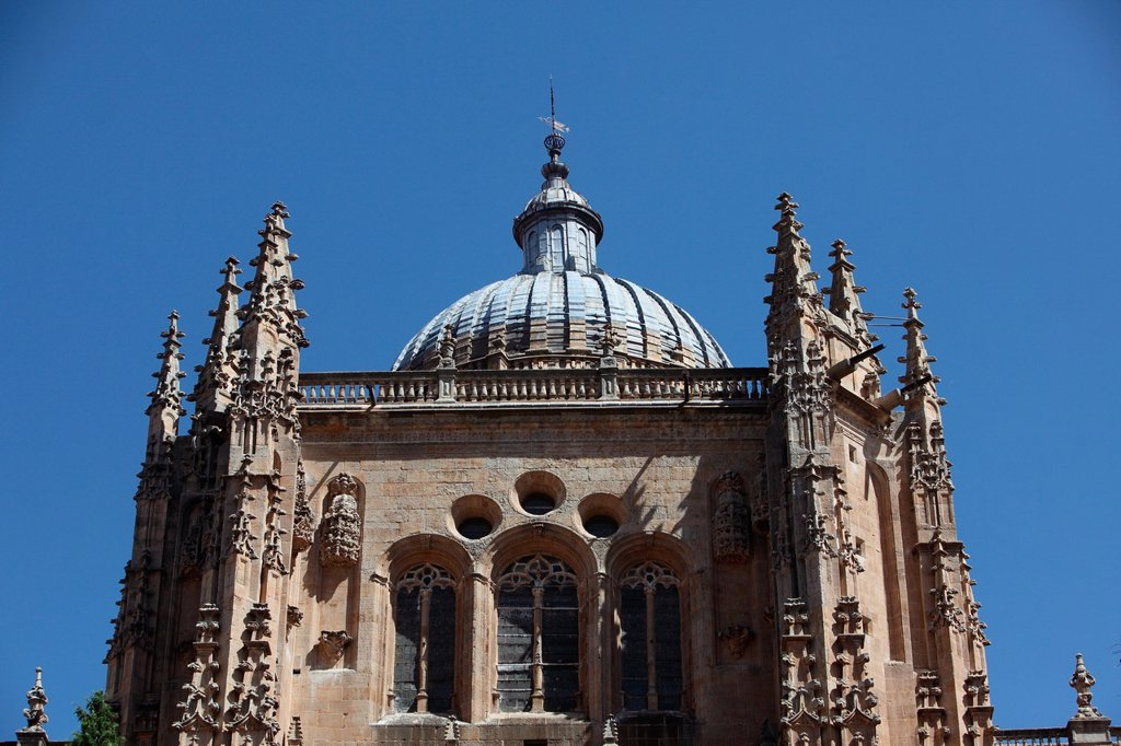 Stock Photo: 1566-1125437 Tower of the New Cathedral 16th century, Salamanca, Castilla y Leon, Spain, Europe