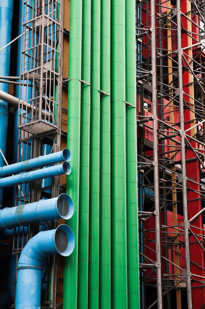 Exterior detail of the Centre Georges Pompidou, from Rue du Renard, Paris, France : Stock Photo
