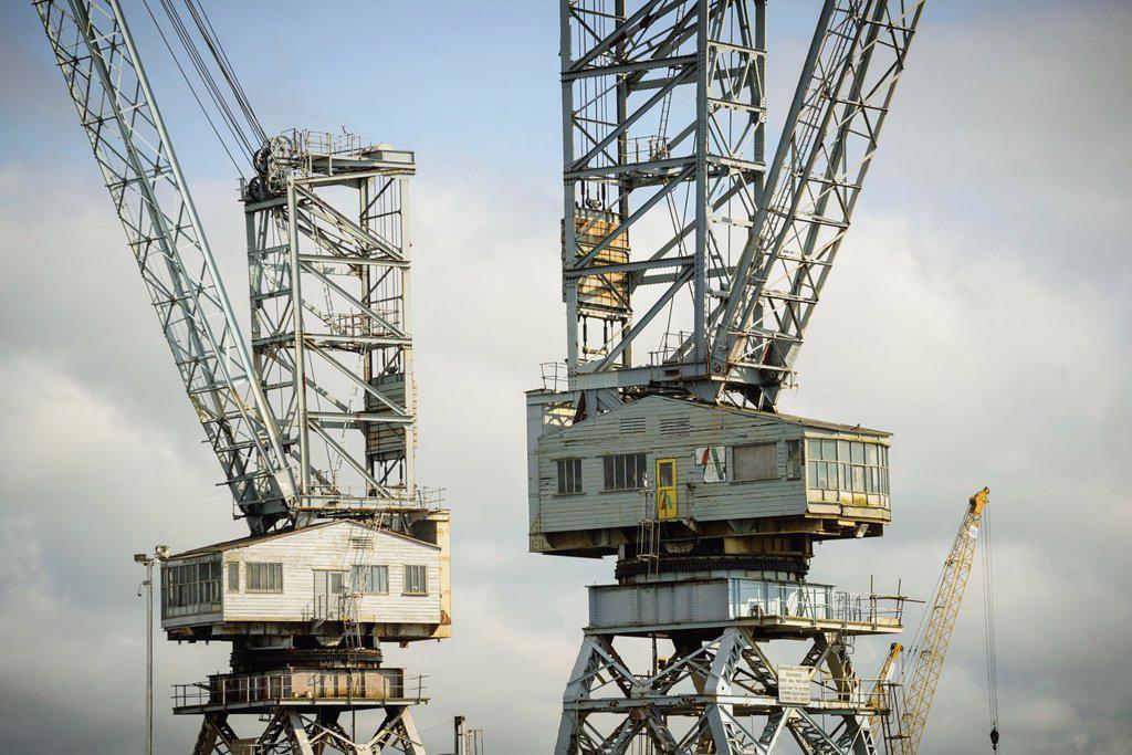 Stock Photo: 1566-1125527 Detail of large cranes, Pendennis Dockyard, Falmouth, Cornwall, England, UK