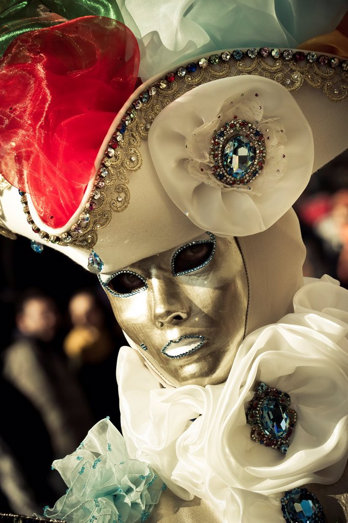 people with fancy dress in Carnival of Venice  Venice, Italy : Stock Photo