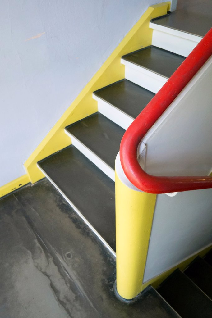 Detail of staircase in Bauhaus Masters´ Houses by Walter Gropius on Ebertallee in Dessau-Rosslau Germany : Stock Photo