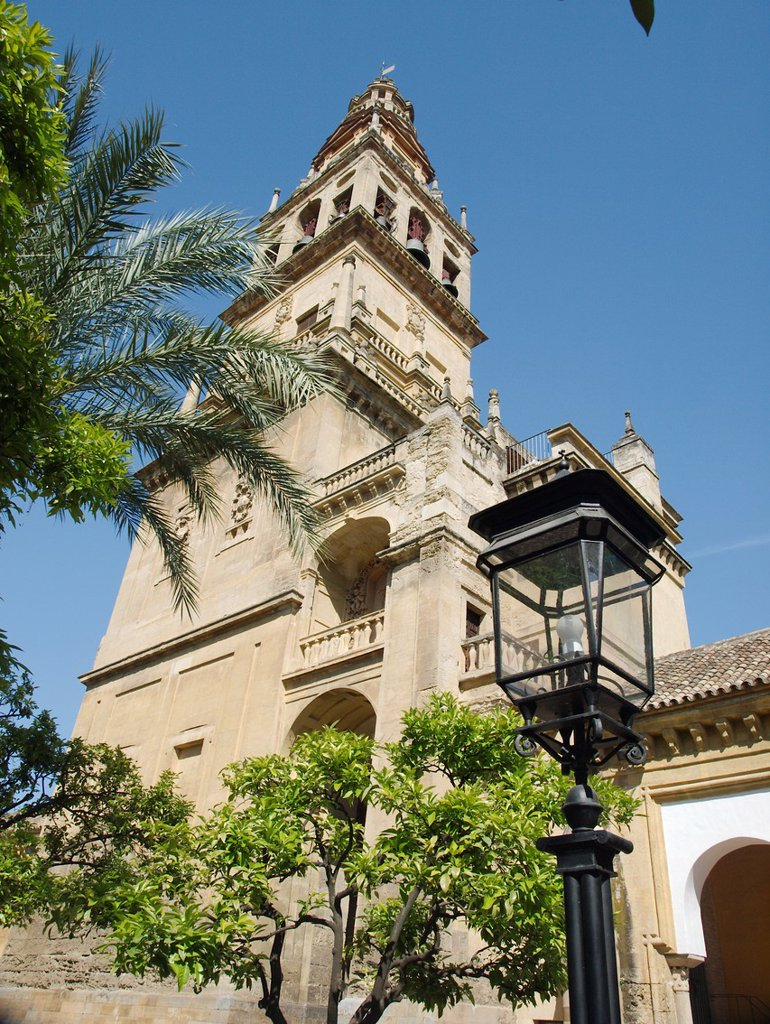 Stock Photo: 1566-1126984 Minaret Tower- Bell Tower, Cathedral of our Lady of the Assumption Great Mosque of Cordoba  Andalucia  Spain