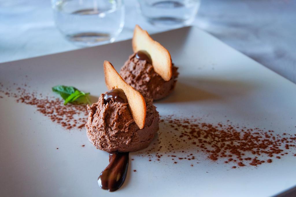 Chocolate dessert. Close view. : Stock Photo