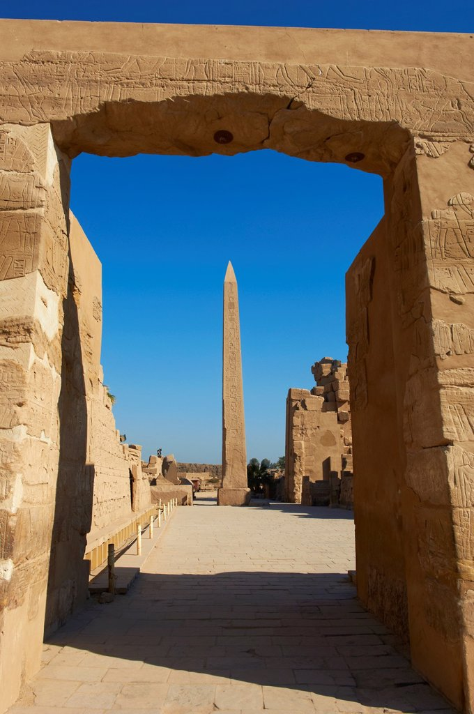 Stock Photo: 1566-1127585 Egypt, Nile Valley, Luxor, Thebes, Karnak Temple, UNESCO World Heritage Site, Obelisks of Hatshepsut