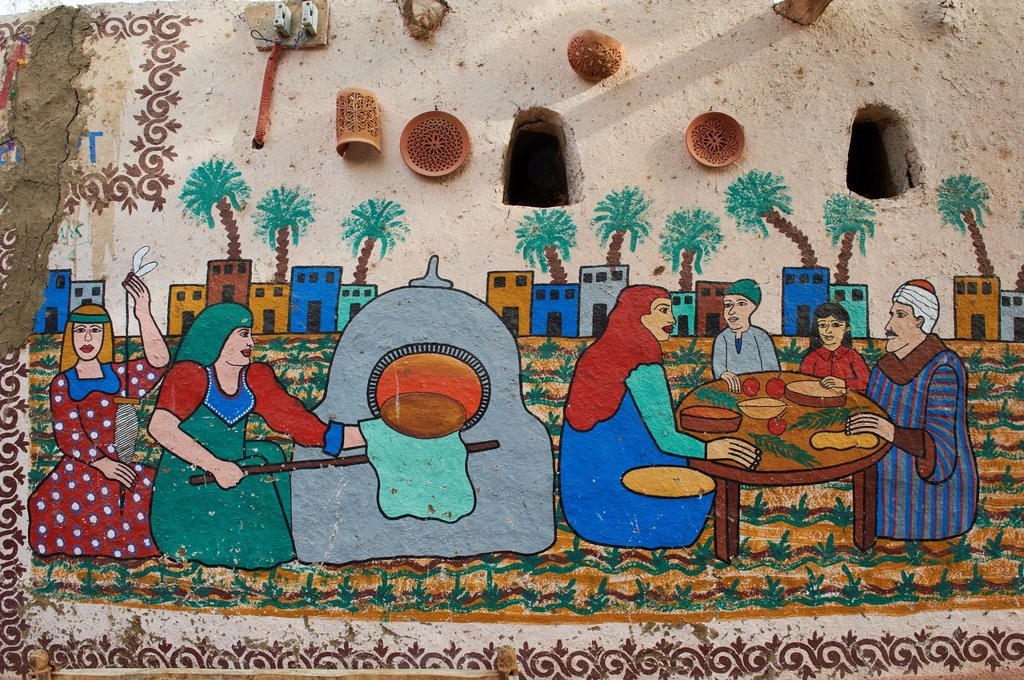 Stock Photo: 1566-1127612 Egypt, Nile Valley, Luxor, Thebes, West bank of the River Nile, painting at Gourna village